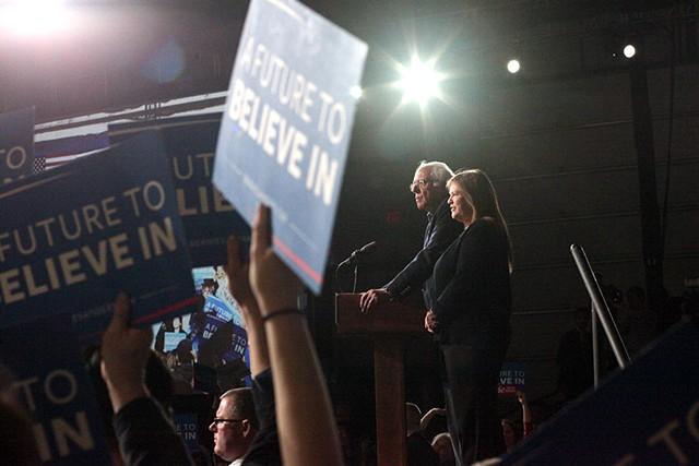 Sen. Bernie Sanders speaks to supporters in Essex Junction. - MATTHEW THORSEN