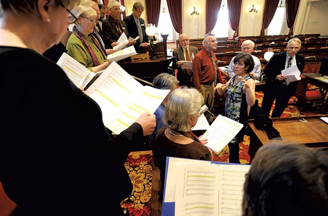 Rep. Mitzi Johnson leading the Statehouse Singers - JEB WALLACE-BRODEUR