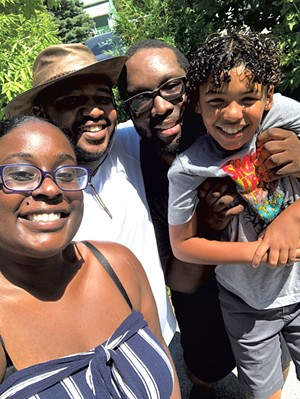 Left: Erica and Edmond McClain with George Angov and Edmond McClain Jr. - COURTESY OF HANGRY THE DONUT BAR