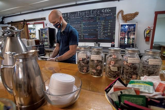 Chris Vigneau making coffee - JEB WALLACE-BRODEUR