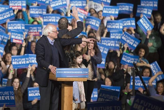 Sen. Bernie Sanders at his Super Tuesday rally - JAMES BUCK