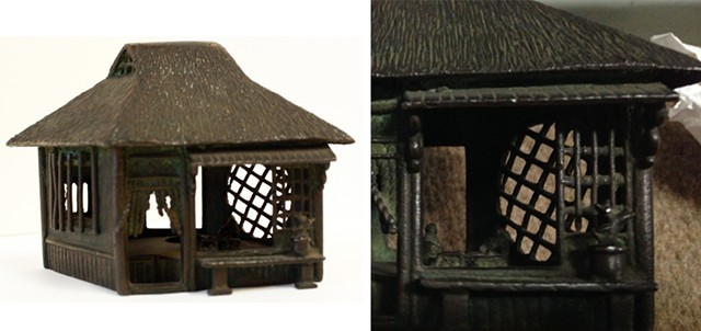 Incense Burner in the Shape of a House, Japan, 20th century. Brass. Fleming Museum of Art, 2003.4.358 LA. - COURTESY OF FLEMING MUSEUM