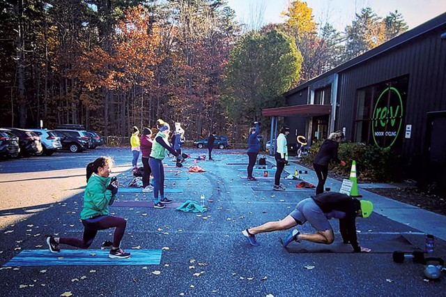 Outdoor fitness class with REV Indoor Cycling - COURTESY