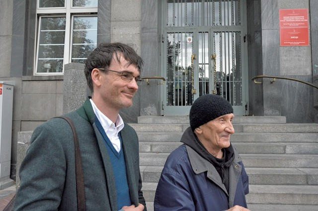 Author Jack Fairweather (left) with 89-year-old Bohdan Walasek, who fought with Witold Pilecki during the Warsaw uprising - COURTESY OF JACK FAIRWEATHER
