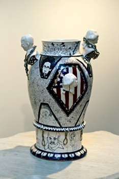 """Black Centuries Vase"" by Roberto Lugo, in ""Dysfunction"" at BCA - COURTESY OF SAM SIMON"