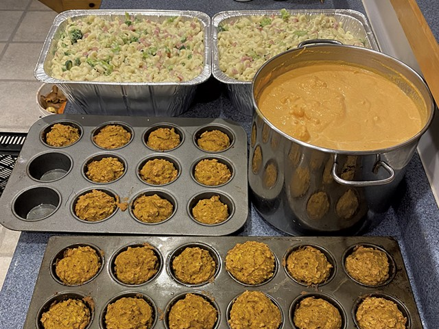 Muffins, cauliflower bisque, and ham-and-broccoli mac and cheese - COURTESY OF HEATHER COLLINS