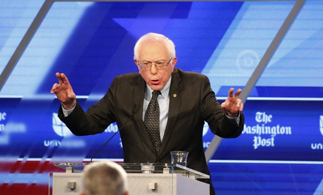 Democratic presidential candidate Sen. Bernie Sanders ( I-Vt.)  at Wednesday's debate in Miami - AP PHOTO/WILFREDO LEE
