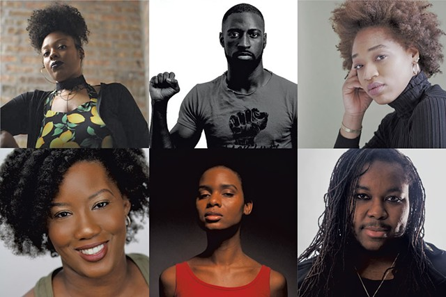 2021 JAGFEST playwrights, clockwise from top left: Loy A. Webb, Jeremy O'Brian, Raven Cassell, Azure D. Osborne-Lee, Gethsemane Herron and Shemika Wardlaw-Brown - COURTESY OF JAGFEST