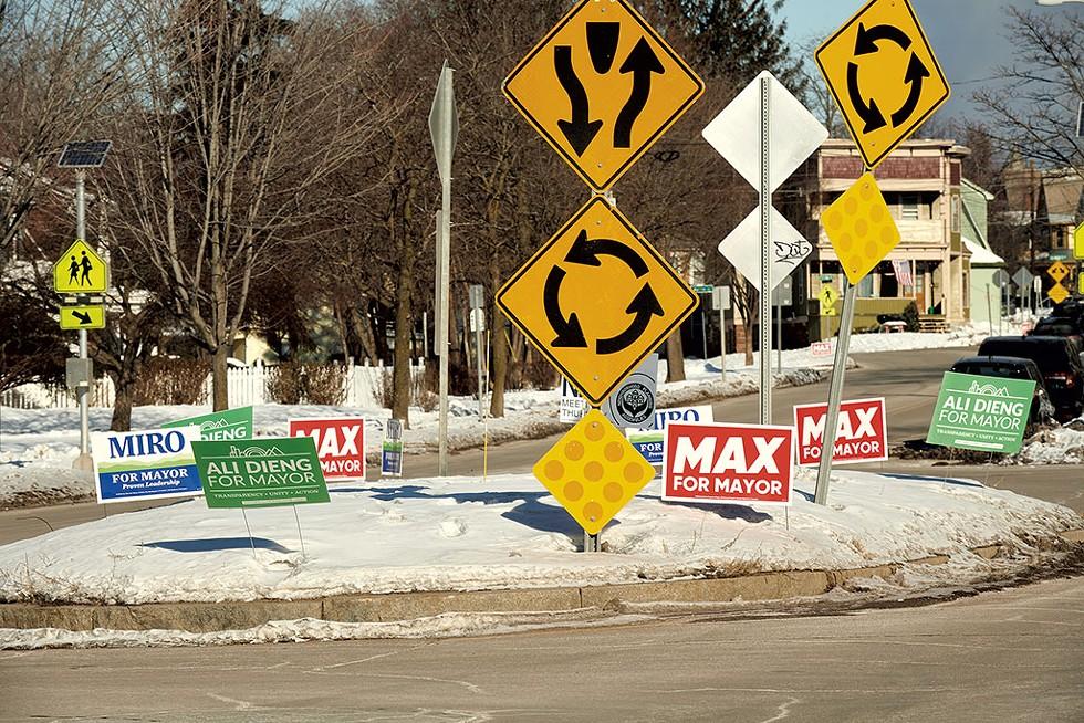 Campaign signs in Burlington - BEAR CIERI