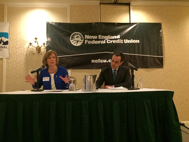 Democratic candidates for governor Sue Minter and Matt Dunne before business group - NANCY REMSEN