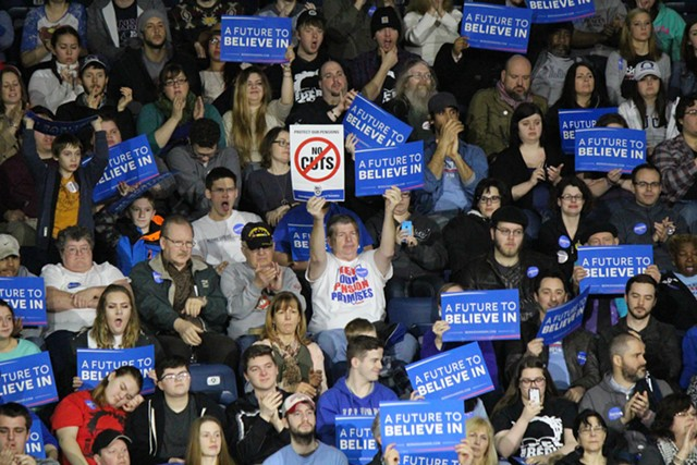 Sanders supporters Monday in Youngstown, Ohio - PAUL HEINTZ
