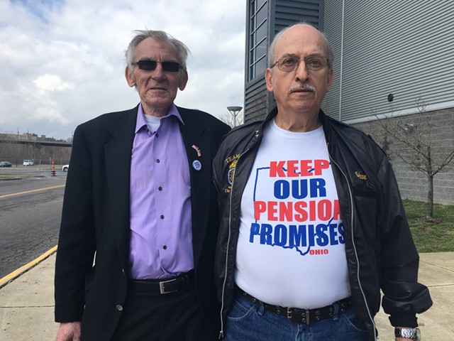 Retired Teamsters Alex Adams and Steve Zapotosky Monday in Youngstown, Ohio - PAUL HEINTZ