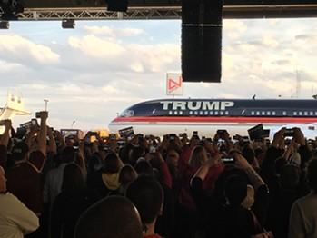 Donald Trump's plane Monday at Youngstown-Warren Regional Airport in Ohio - PAUL HEINTZ