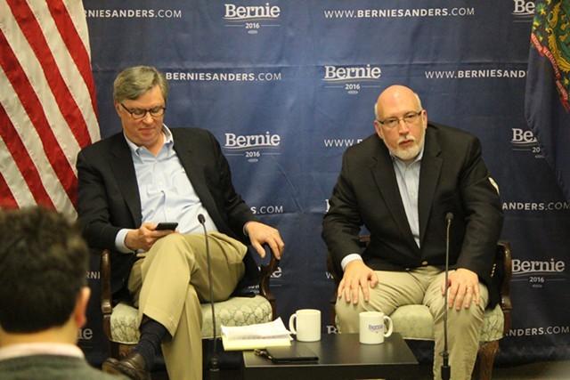 Tad Devine and Jeff Weaver speak in Burlington two weeks ago. - FILE: PAUL HEINTZ