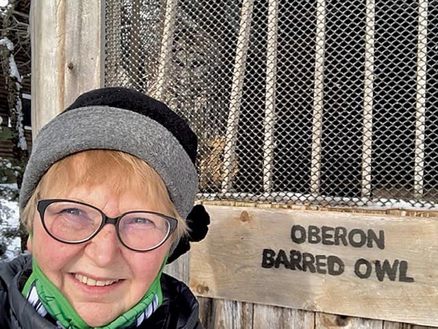 Brenda Greika with a barred owl in East Charleston - COURTESY OF BRENDA GREIKA