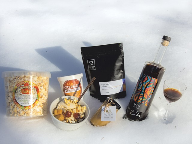 Left: Bragg Farm's maple kettle corn, maple sundae made with ingredients from Morse Farm, Vivid Coffee's Sugar Shack blend, the Gateway Farm's maple butter and Woodnose's Sacré. - JORDAN BARRY ©️ SEVEN DAYS