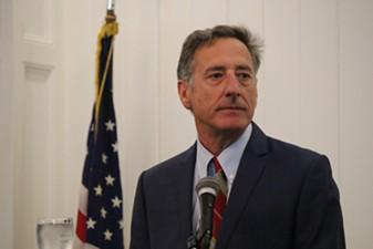 Gov. Peter Shumlin addresses the Vermont Press Association Thursday in Montpelier. - PAUL HEINTZ