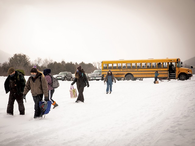 A Vergennes Union High School bus dropping off Walden Project students for the day - CAT CUTILLO