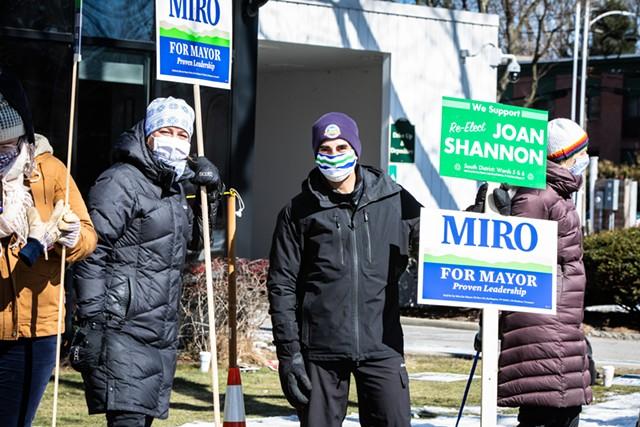 Mayor Miro Weinberger campaigning Tuesday - FILE: LUKE AWTRY