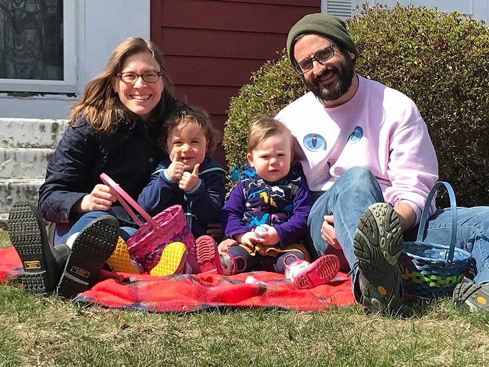 Keegan Albaugh with his wife, Stephanie, and daughters, Coraline and Penelope - COURTESY OF KEEGAN ALBAUGH