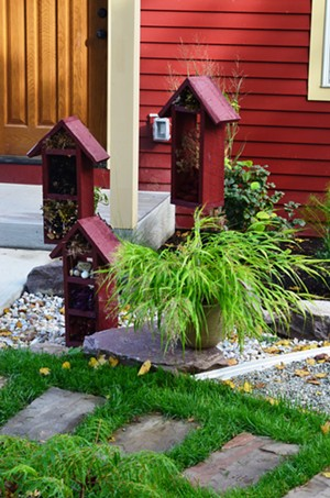Garden insect hotels in a front yard habitat - COURTESY OF SILVIA JOPE