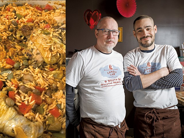 Traditional Puerto Rican chicken and rice from Lola's Latin Kitchen | Candy Lab co-owners Michael McCarver-Reyes (left) and Albert Reyes-McCarver - COURTESY MICHAEL MCCARVER-REYES | FILE: OLIVER PARINI