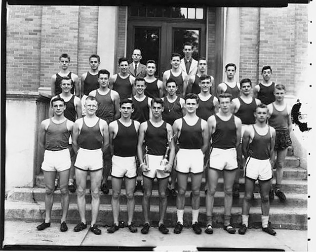 Boys' varsity track team, 1949 - COURTESY OF UNIVERSITY OF VERMONT SPECIAL COLLECTIONS