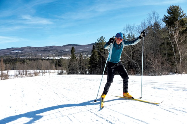 Sam Chambers nordic skiing at Blueberry Lake Cross Country Center - JEB WALLACE-BRODEUR