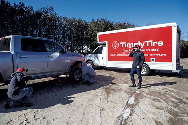 The Timely Tire crew at work on location - LUKE AWTRY