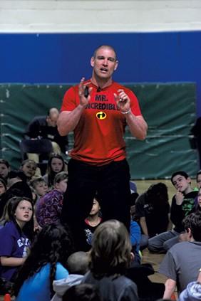 Tom Murphy speaking to elementary school students in Essex Junction - MATTHEW THORSEN