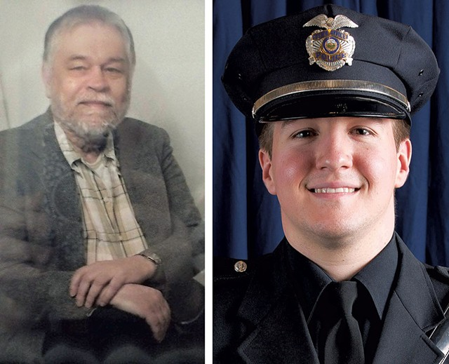 """Ralph """"Phil"""" Grenon and Officer David Bowers - COURTESY OF WCAX-TV   BURLINGTON POLICE DEPARTMENT"""
