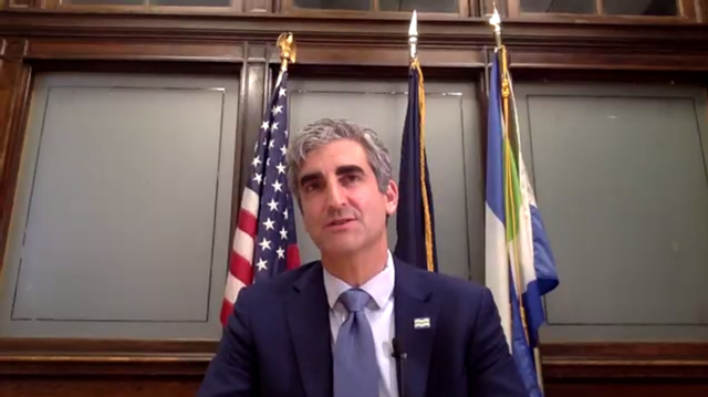Mayor Miro Weinberger delivers his speech on Monday via Zoom - SCREENSHOT