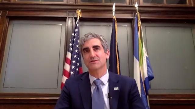 Mayor Miro Weinberger delivers his speech on Monday via Zoom - SCREENSHOT