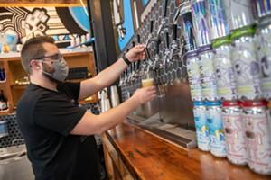 Joe Lemnah in Burlington Beer's current Williston taproom - FILE: DARIA BISHOP ©️ SEVEN DAYS