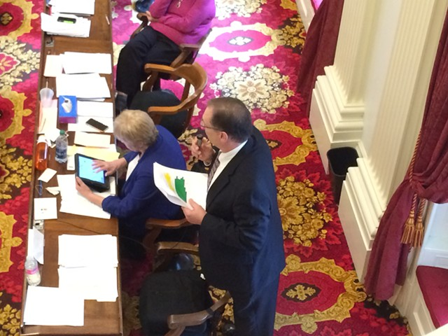 Rep. George Till (D-Jericho) argues for raising the legal smoking age from 18 to 21. - NANCY REMSEN