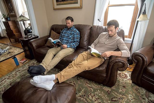 Rory (left) and Ryan Van Tuinen in their home in Waterbury - JEB WALLACE-BRODEUR
