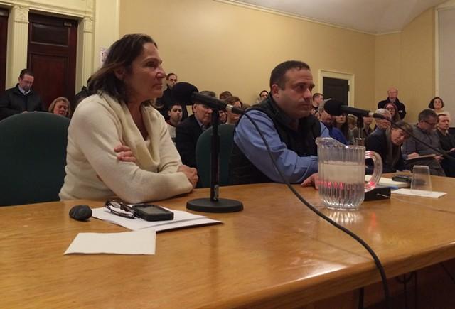 Stephanie Seguino and Burlington Police Chief Brandon del Pozo field councilors' questions about race data. - ALICIA FREESE