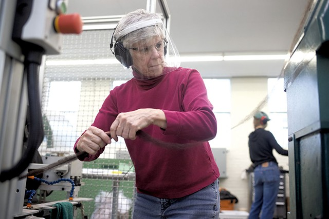 Peggy Allen working in the mill - SARAH PRIESTAP