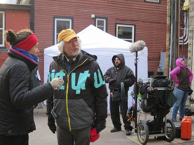 Jay Craven (yellow cap), crew and actors on set for Wetware - MATTHEW THORSEN