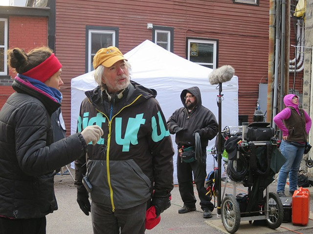 Jay Craven (yellow cap), crew and actors on set for Wetware - MATTHEW THORSEN