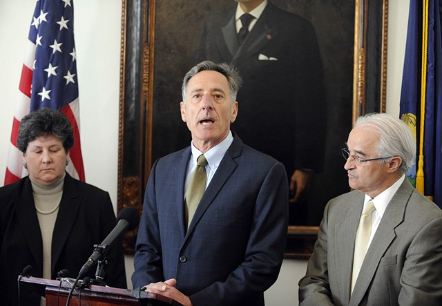 Department of Financial Regulation Commissioner Susan Donegan, Gov. Peter Shumlin and Attorney General Bill Sorrell outline state charges against Jay Peak developers Thursday at the Statehouse. - JEB WALLACE-BRODEUR