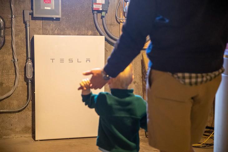 The Tesla battery storage in the Fink's basement - JAMES BUCK
