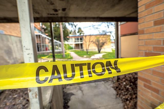 Safety tape at Burlington High School - LUKE AWTRY