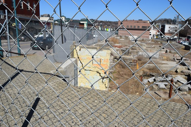 A large gap remains along Main Street in Newport, where the Renaissance Block may never be built. - TERRI HALLENBECK
