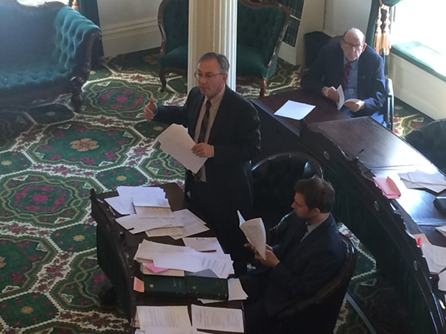 Sen. Phil Baruth presents proposed rules addressing ethics and financial disclosures. - NANCY REMSEN