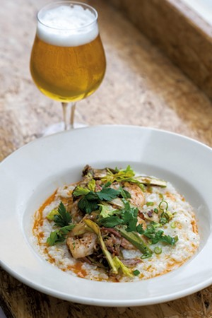 Shrimp and tasso ham congee at Antidote in Vergennes - CALEB KENNA