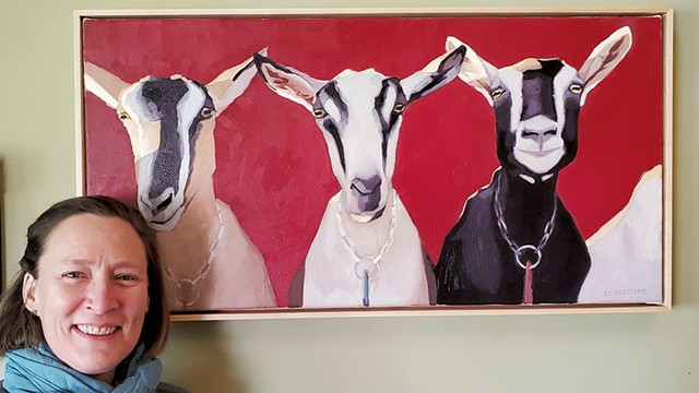 Hannah Sessions with a painting of her goats - COURTESY OF HANNAH SESSIONS