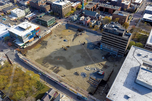 The CityPlace Burlington site, with 100 Bank Street visible in the top right-hand side of the pit - FILE: JAMES BUCK