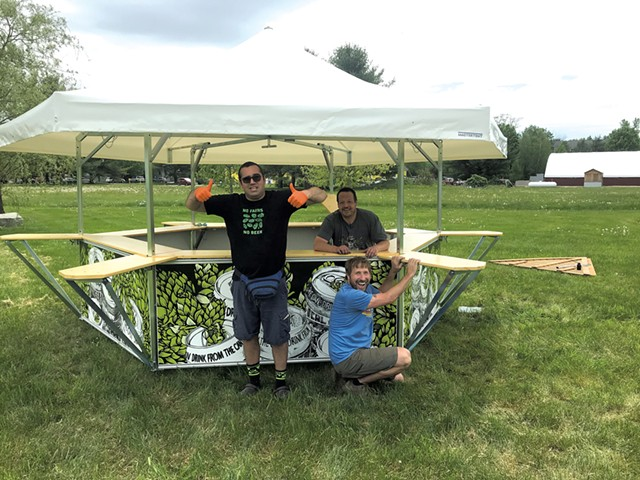 Eric Greenberg oversees assembly of the Alchemist's new beer pavilion - COURTESY OF THE ALCHEMIST
