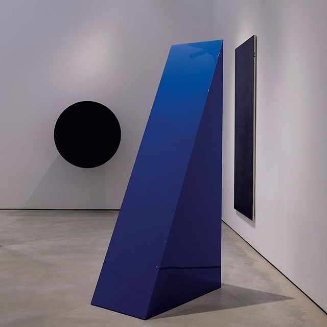 """From left: """"Untitled"""" by Anish Kapoor, """"Untitled (Blue Wedge)"""" by John McCracken and """"Untitled"""" by Olivier Mosset - COURTESY OF JEFFREY NINTZEL AND HALL ART FOUNDATION"""